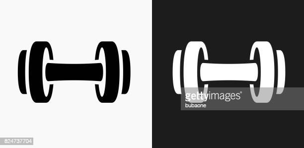 dumbbell icon on black and white vector backgrounds - dumbbell stock illustrations