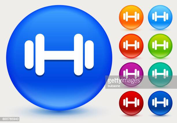 dumbbell icon on shiny color circle buttons - leisure facilities stock illustrations, clip art, cartoons, & icons