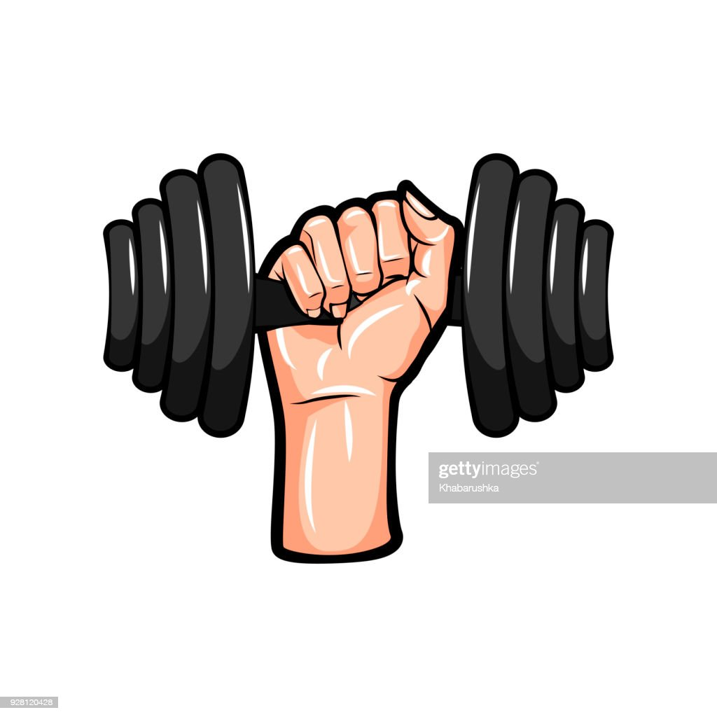 Dumbbell in hand icon. Vector illustration.