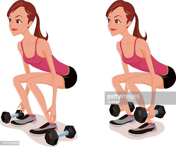 ilustraciones, imágenes clip art, dibujos animados e iconos de stock de pesa squat ejercicio - entrenamiento con pesas
