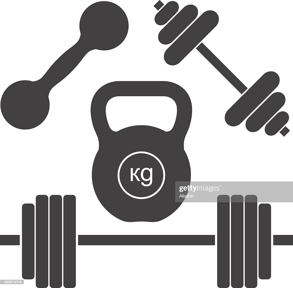 Dumbbells and barbells. Set of simple vector icons for sports.