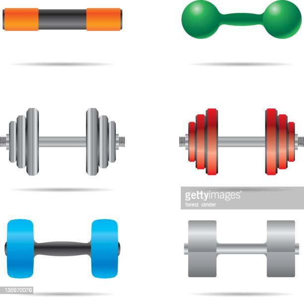 dumbbells icons - weights stock illustrations, clip art, cartoons, & icons