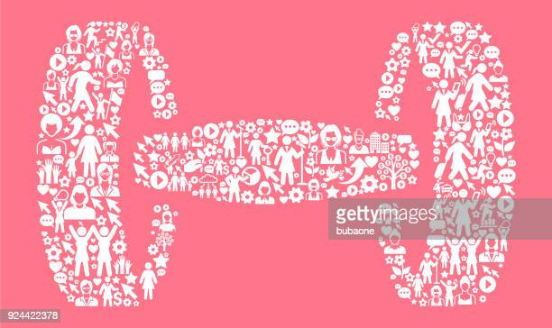 dumbbells  women's rights and ,  icon pattern - leisure facilities stock illustrations, clip art, cartoons, & icons