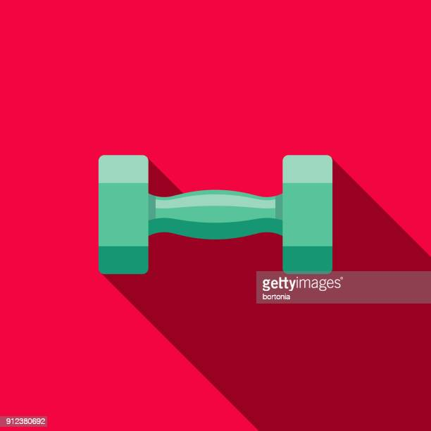 dumbell flat design fitness & exercise icon - barbell stock illustrations, clip art, cartoons, & icons