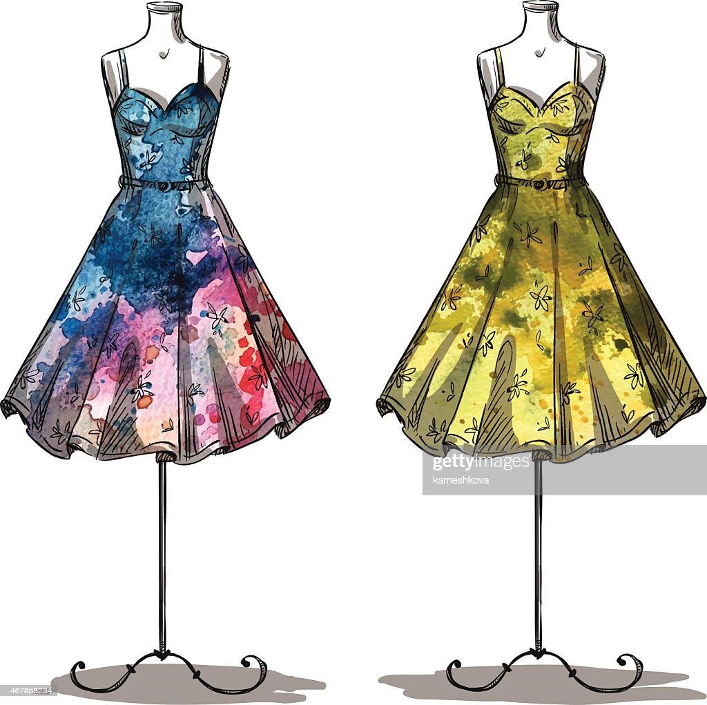 Dummies with dresses. Fashion illustration.