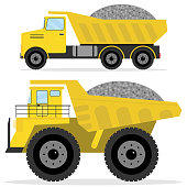 Dumper with rubble. Freight transport, heavy truck, dumper icon.