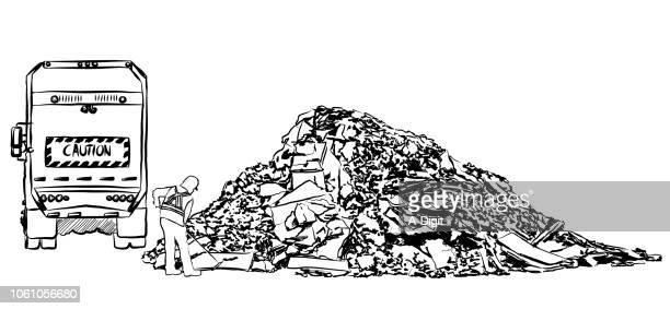 ilustrações de stock, clip art, desenhos animados e ícones de dumping garbabe landfill - gari