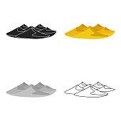 Dunes icon in cartoon style isolated on white background. Arab Emirates symbol stock vector illustration web