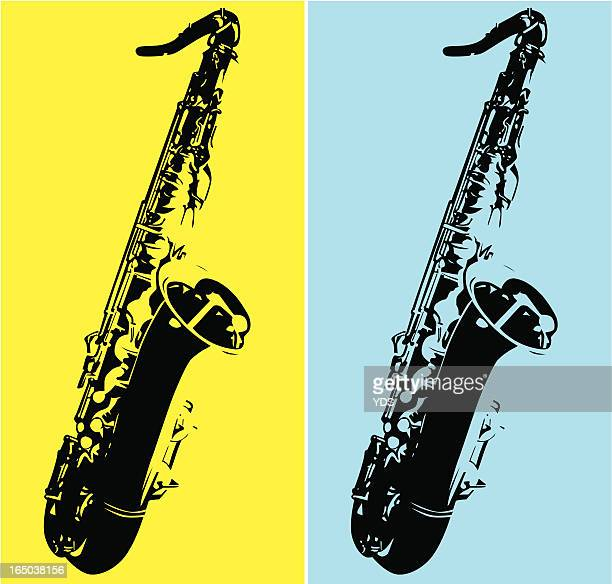 duo tone art with a tenor saxophone - saxaphone stock illustrations, clip art, cartoons, & icons
