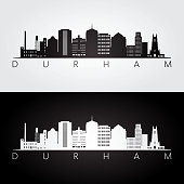 Durham usa skyline and landmarks silhouette, black and white design, vector illustration.