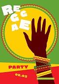 durum sun and tribal human hand with bracelets. reggae folk