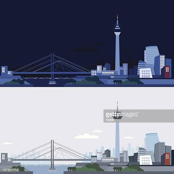 düsseldorf skyline nacht und tag (vektor) - düsseldorf stock-grafiken, -clipart, -cartoons und -symbole