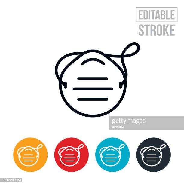 dust mask thin line icon - editable stroke - respirator mask stock illustrations