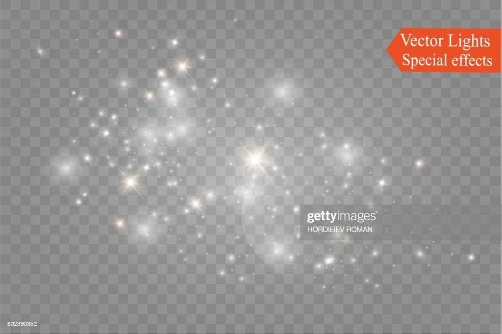 Dust on a transparent background.bright stars.The glow lighting effect