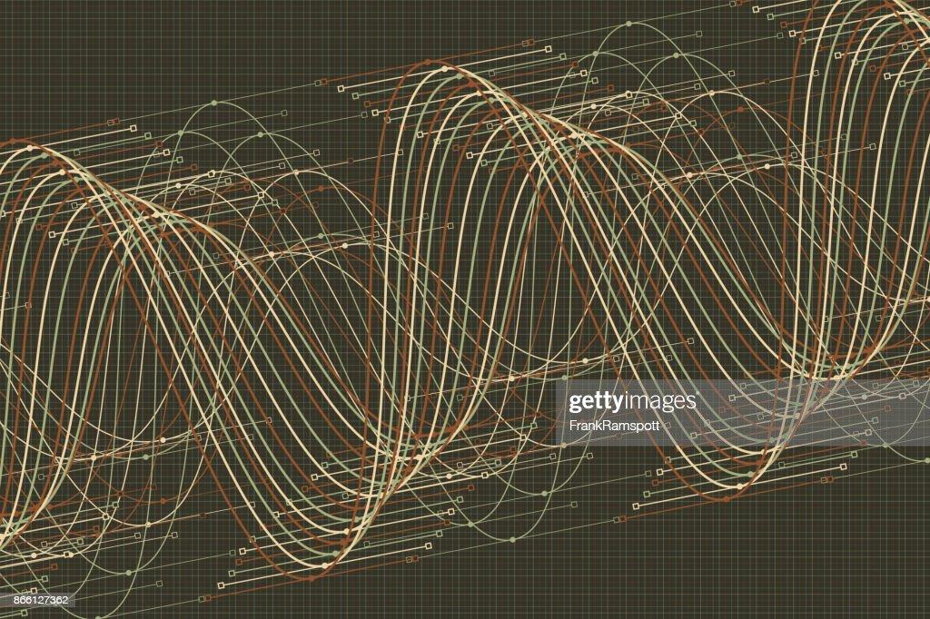 Staub Vektor Sinuswelle Graph Muster Horizontal : Stock-Illustration