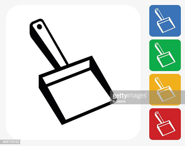 dusting icon flat graphic design - dustpan stock illustrations, clip art, cartoons, & icons