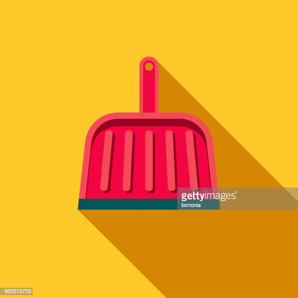 dustpan flat design cleaning icon with side shadow - dustpan stock illustrations, clip art, cartoons, & icons