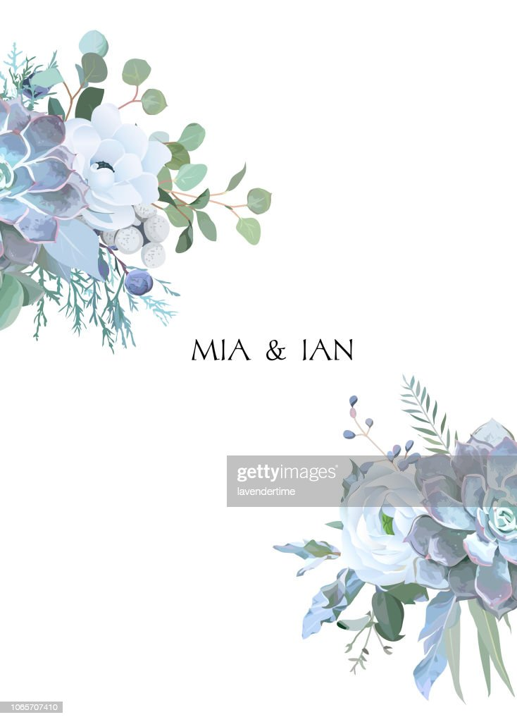 Dusty blue and white flowers, ranunculus, anemone, eucalyptus, juniper