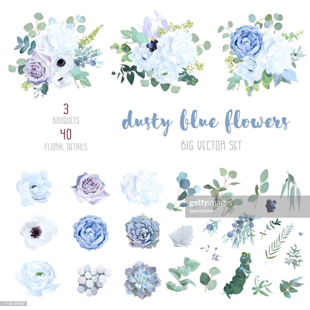 Dusty blue, pale purple rose, white hydrangea, ranunculus