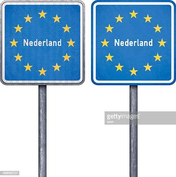Holländische Grenze road sign mit EU-Flagge