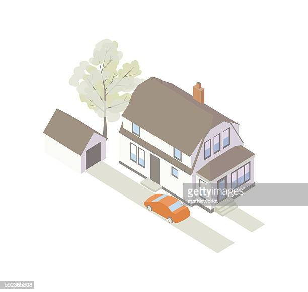 Dutch colonial house illustration