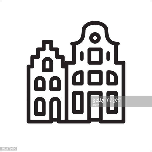dutch renaissance building - outline icon - pixel perfect - amsterdam stock illustrations
