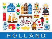 Dutch travel icons Holland landmarks Amsterdam Netherlands