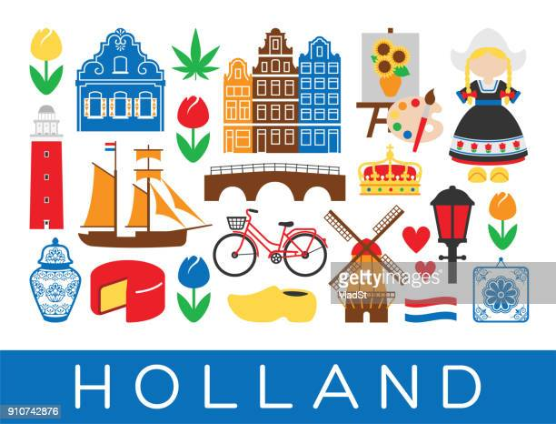 dutch travel icons holland landmarks amsterdam netherlands - traditional clothing stock illustrations