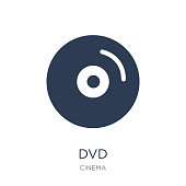 Dvd icon. Trendy flat vector Dvd icon on white background from Cinema collection