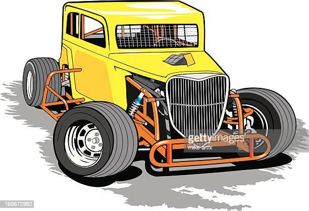 dwarfcaryellowy - sprint car stock illustrations