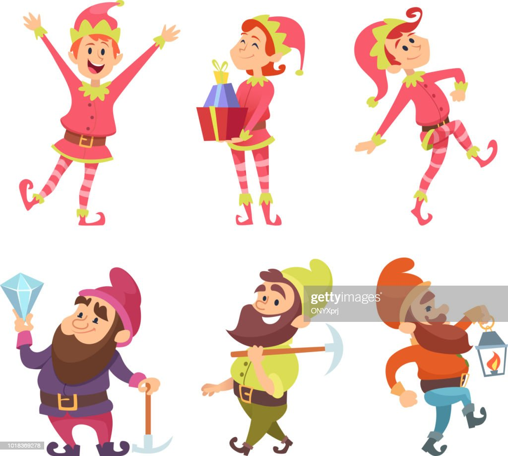 Dwarves and elves. Funny fairytale characters in dynamic poses