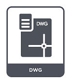 dwg icon vector on white background, dwg trendy filled icons from File type collection