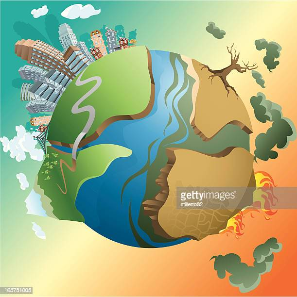 dying earth - pollution stock illustrations