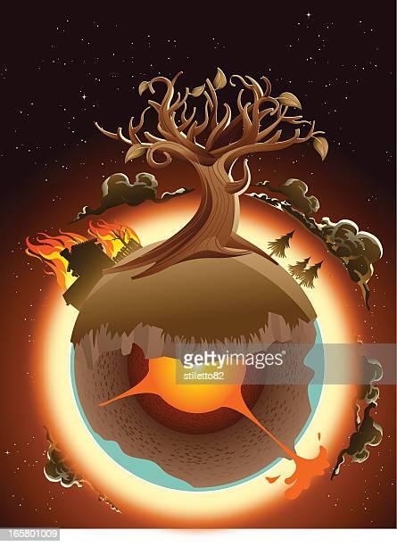 Dying árbol en la tierra