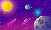Dynamic Colorful Outer Space background. Vector illustration.