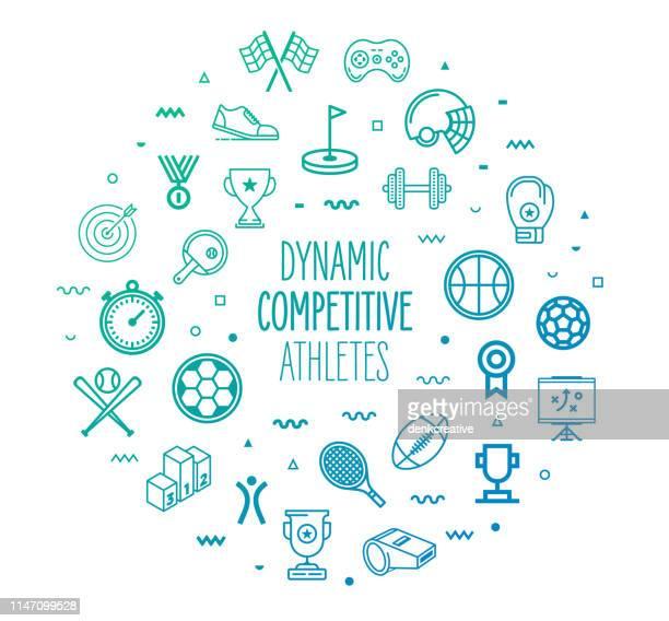 ilustraciones, imágenes clip art, dibujos animados e iconos de stock de atletas competitivos dinámicos contorno estilo infografía diseño - deporte de equipo