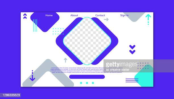 dynamic geometric landing page template. - landing page stock illustrations