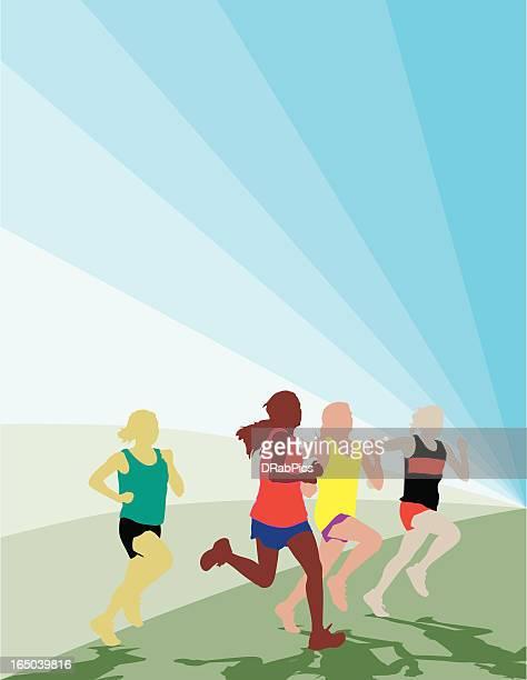 dynamic girls racing - women's track stock illustrations, clip art, cartoons, & icons