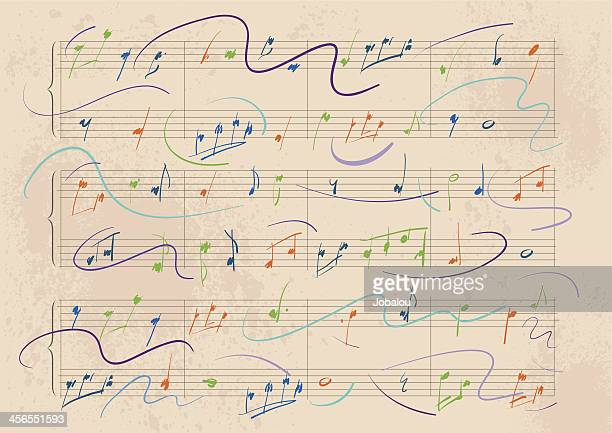 dynamic musical score - treble clef stock illustrations, clip art, cartoons, & icons