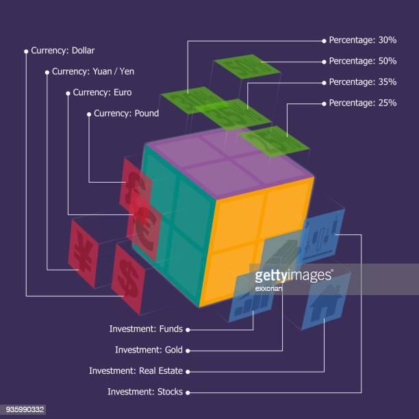 動的な 3 次元キューブ インフォ グラフィック - 中国元記号点のイラスト素材/クリップアート素材/マンガ素材/アイコン素材