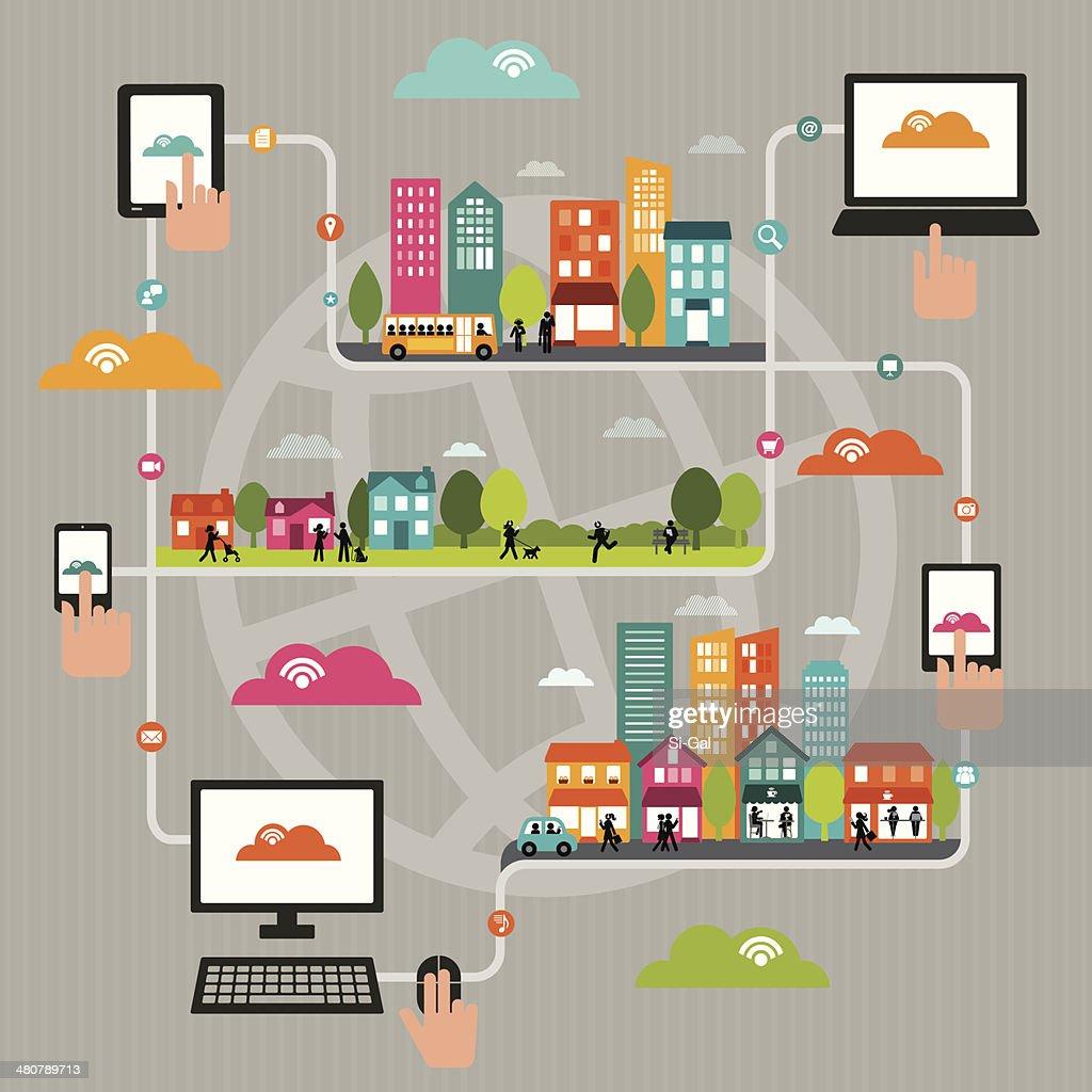 Dynamic WiFi a la ciudad : Ilustración de stock