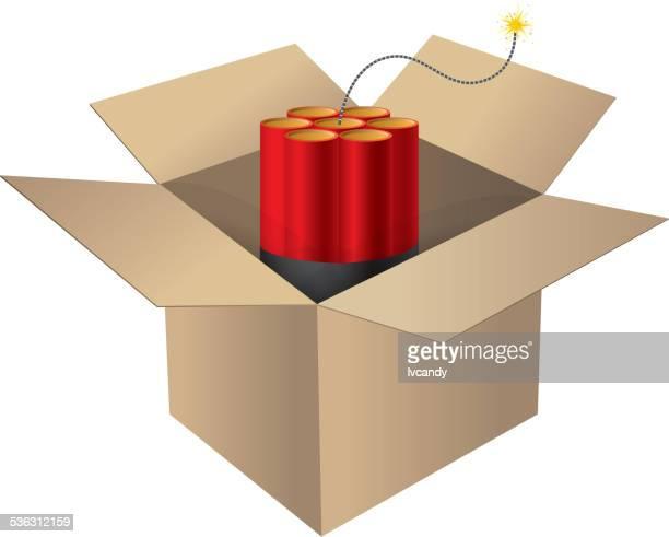 stockillustraties, clipart, cartoons en iconen met dynamite in box - bombardement