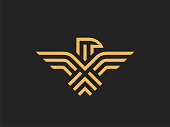 Eagle Abstract sign design vector Linear style.