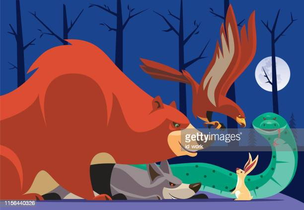 eagle and friends meeting rabbit - animals hunting stock illustrations