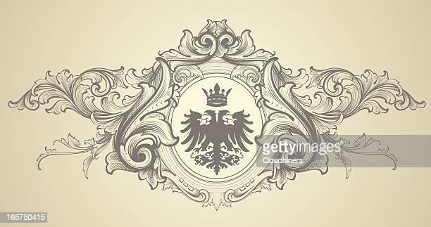 ilustrações, clipart, desenhos animados e ícones de eagle barroco brasão de armas de - insígnia