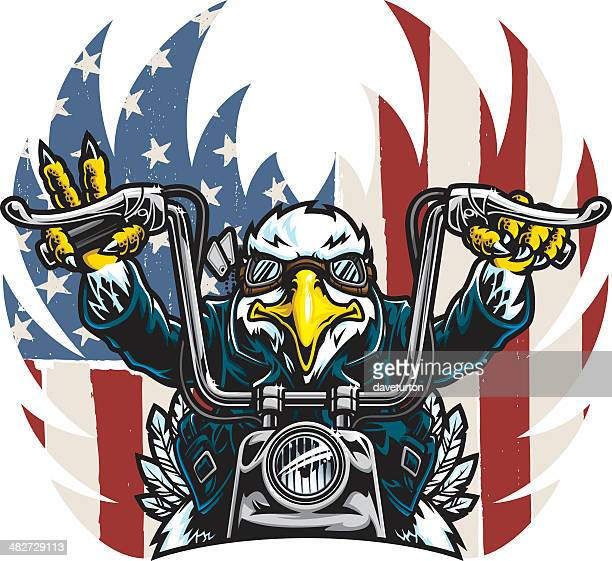 eagle biker freedom - motorcycle rider stock illustrations, clip art, cartoons, & icons