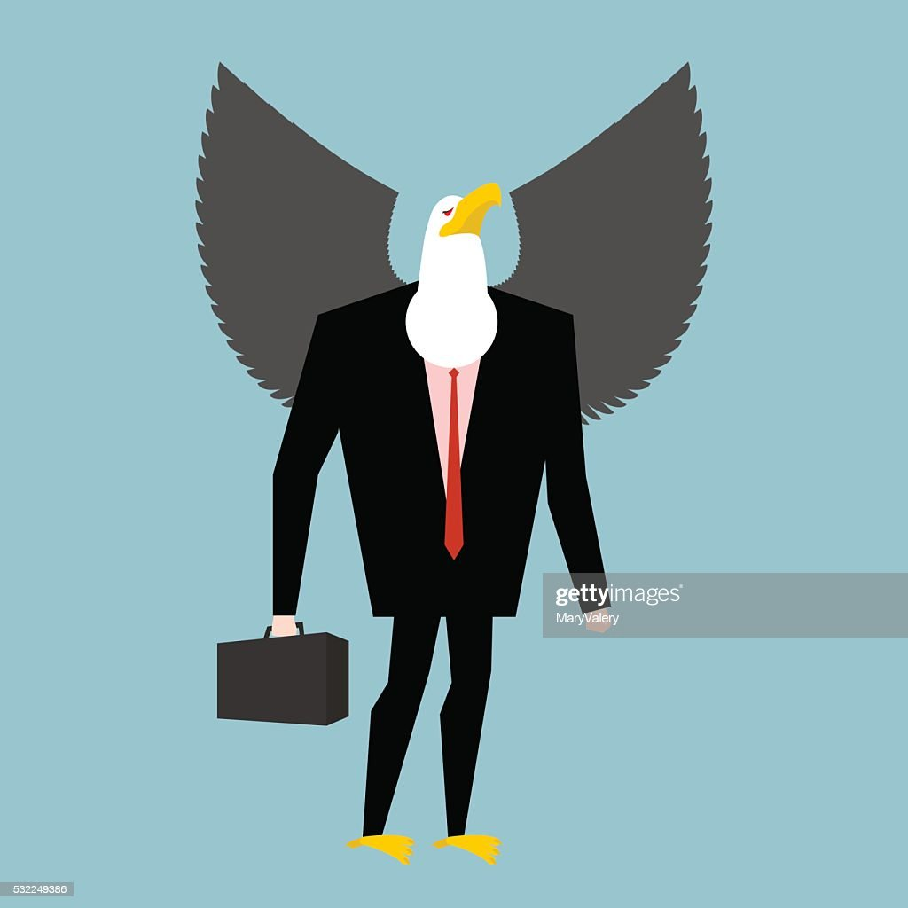 Eagle businessman. business bird in suit. Winged black manager i
