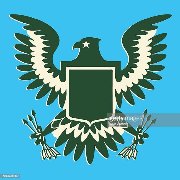 eagle clutching arrows - bald eagle stock illustrations