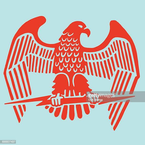 eagle clutching lightning bolt - bald eagle stock illustrations