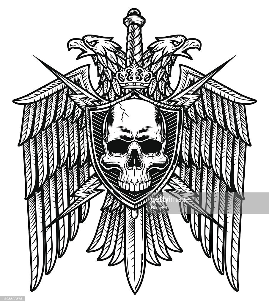 Eagle crest skull shield coat of arms white